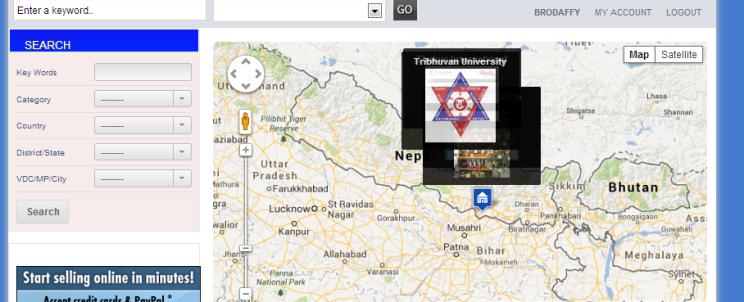 View of website